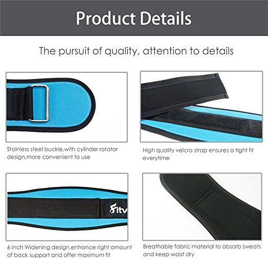 """Amazon.com : FITVC Weight Lifting Belt -6"""" High Performance Heavy Duty Core Weightlifting Powerlifting Squat Belt Back Support Protector Adjustable for Men and Women : Sports & Outdoors"""