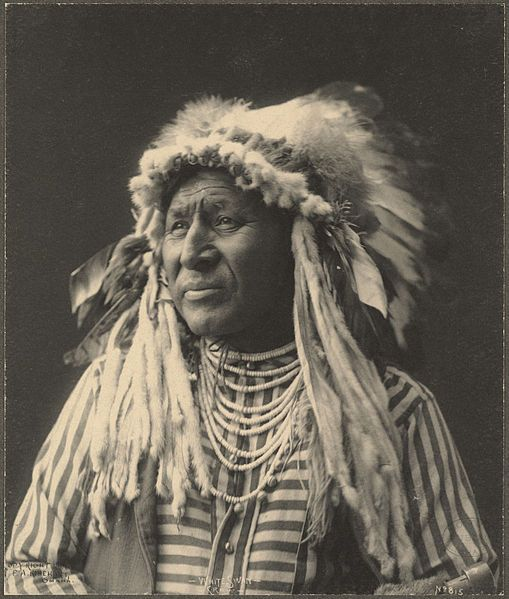 White Swan (ca. 1850 - 1904), or Mee-nah-tsee-us, was one of six Crow Scouts in Custer's 7th Cavalry.  White Swan went with Major Reno's detachment, and fought alongside the soldiers at the south end of the village. Of the 6 Crow scouts at the Battle of the Little Bighorn White Swan stands out because he aggressively sought combat with multiple Sioux and Cheyenne warriors, and he was the only Crow Scout to be wounded in action, suffering severe wounds to his hand, leg/foot and head.