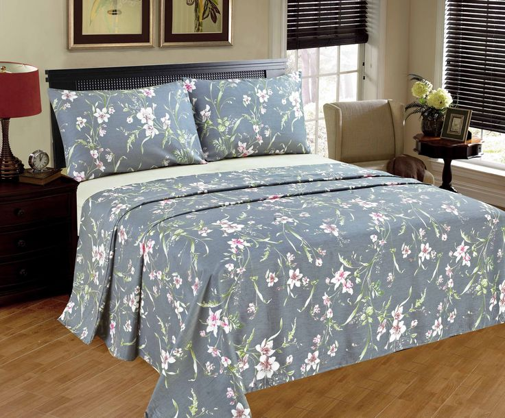 Tache 2-3 PC 100% Cotton Cherry Blossom Dusk Floral Grey Gray Rustic Girly Flat Sheet Set