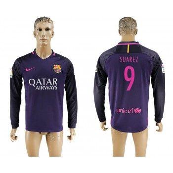 Barcelona 16-17 Luis Suarez 9 Bortatröja Långärmad   #Billiga  #fotbollströjor