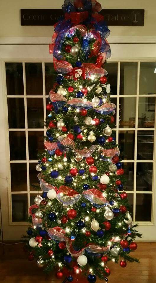 PATRIOTIC CHRISTMAS TREE,  RED, WHITE, BLUE. USMC, MARINE CORPS, MILITARY, AIR FORCE, ARMY, OHH-RAH, DECO MESH GARLAND, HANDMADE ORNAMENTS, DIY ORNAMENTS, CRICUT, RED, WHITE AND BLUE TREE