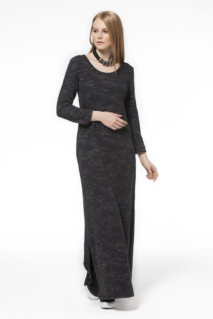 Uzun Elbise Antrasit Uzun Antrasit Elbise Elbise En Trend Elbiseler 99,90 TL