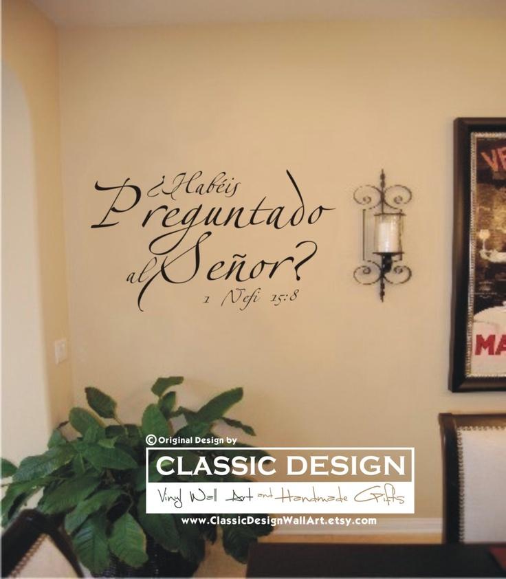 """Vinilos decorativos para pared - Habéis Preguntado al Señor, Escritura en Español, 1 Nefi 15:8 Cita para Pared, vinilo decorativo para pared: approximadamente 14"""" x 8"""" (Vinyl Wall Decal quote). $12.50, via Etsy."""