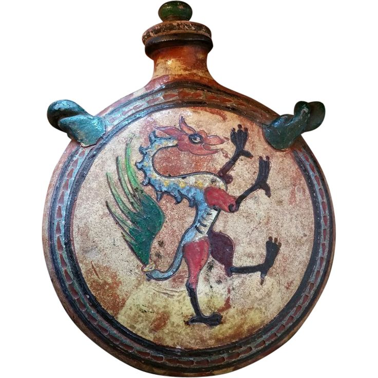 Italian Graffito Terracotta Redware Dragon Pilgrim's flask from lamontantiques on Ruby Lane