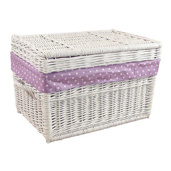 Biały wiklinowy kufer obszyty materiałem wzór - białe kropki na fioletowym tle