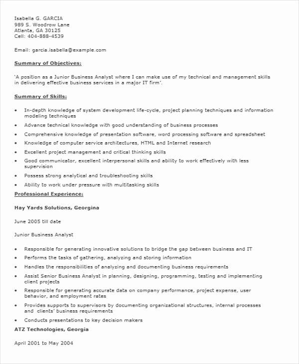Business Analyst Resume Indeed Awesome Sample Cv For Junior Business Analyst