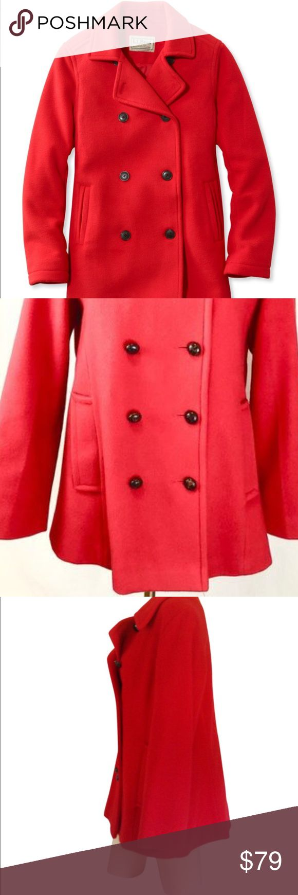 LLBean Wool Red Pea Coat 🧥new condition New . Condition. Perfect . No flaws . Size 18 which is a small .   I believe . In LLBEAN sizes . 100% wool . Very warm peacoat . Satin lining for softness .  Was a gift from my mother from the catalog. Just not my style . Wrapped and shipped with care . LL Bean Jackets & Coats Pea Coats