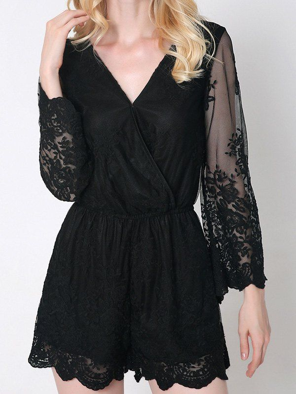 Trendy Women's Flare Sleeve Laciness Wrap Romper - BLACK S
