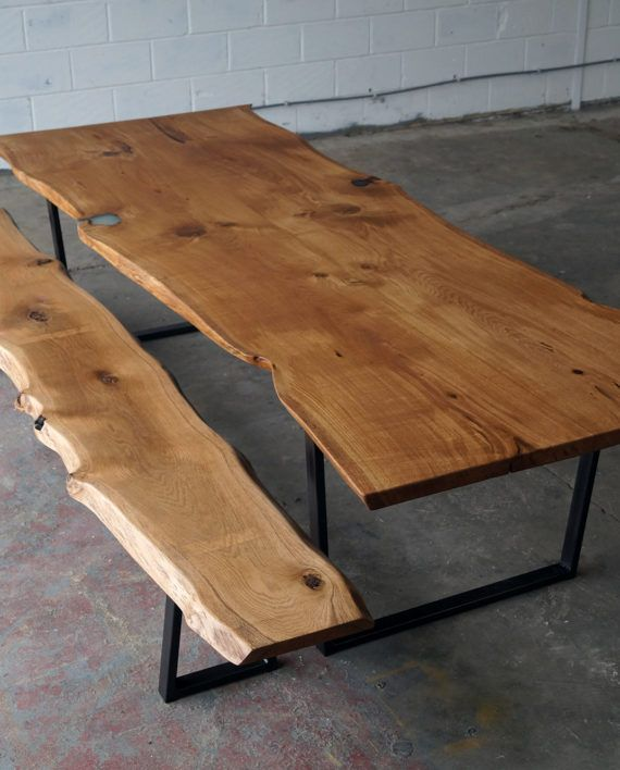 Revive Joinery Live/Waney Edge Solid Oak Dining / Boardroom Table With Steel Legs
