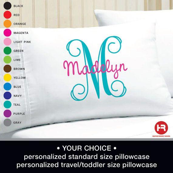Monogram Pillowcase - Girls Personalized Pillow case - Printed Monogram Pillowcase on Etsy, $17.00
