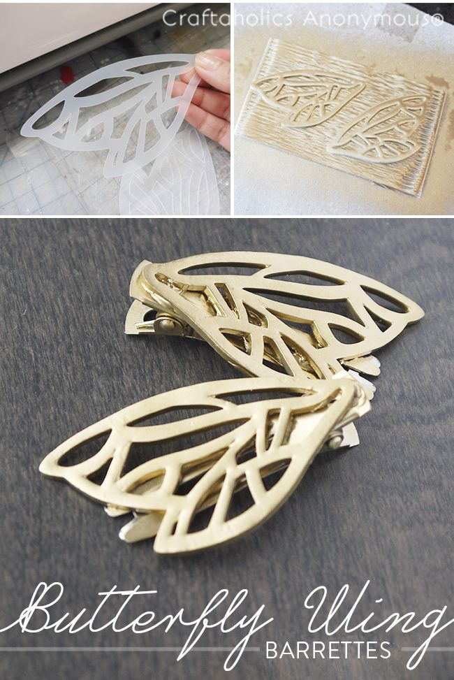 Learn to make these beautiful DIY Butterfly Wing Barrettes with your Silhouette! Use the pattern and tutorial for earrings, necklaces, or barrettes!
