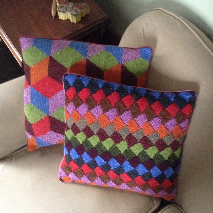 Rowan yarn and Kaffe Fasset's Tumbling Blocks with an entrelac version.