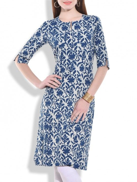 Indigo printed cotton kurta