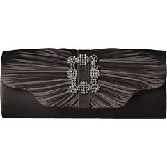 Jessica McClintock Mary Satin Pleated Clutch with Brooch