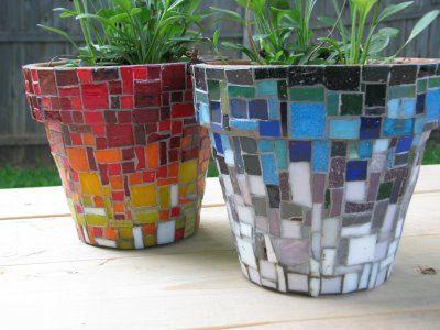 Mosaic Flower Pot. $40.00, via Etsy.