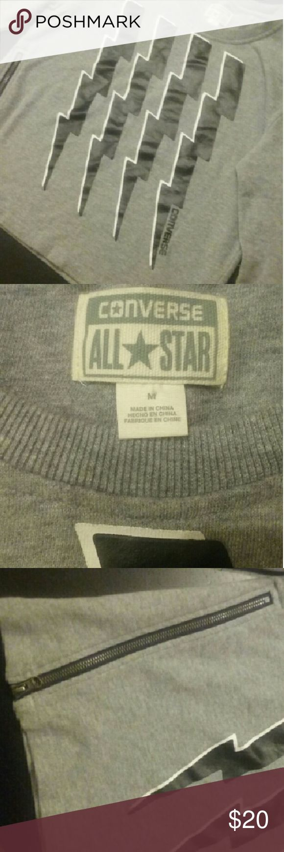 Converse Zip Side Sweatshirt. Only worn once. Perfect condition.  Zipper works. Super cute! No stains, no holes. Converse Tops