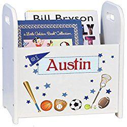 Personalized Book Storage Magazine Rack - sports theme