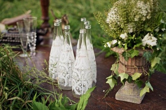 Lace glass bottles