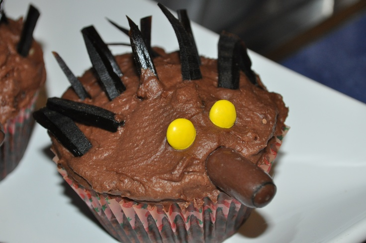 Baby echidna cupcakes to go with Abbey's Echidna Icecream Cake! Australian Animal theme.