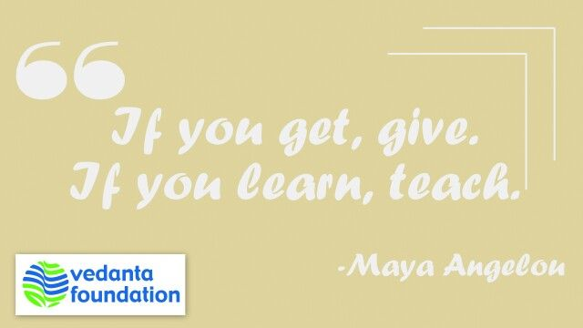 Education is the key to Development.  #QuoteOfTheDay #MayaAngelou #Quote #Education #Development #Vedanta #VedantaFoundation