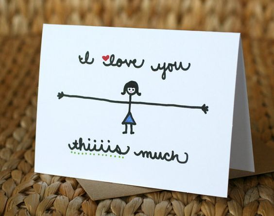 I like to leave silly love notes around the house for my boyfriend.... Hes kind of a manly-man but I have discovered that when the notes are good enough, he saves them. ❤  This card is a print of a little stick-person self-portrait I drew that made it into the secret stash.  This is the perfect card for any occasion as long as the recipient is loved thiiiis much!  /////////////////////////////////////////////////////////////////////////////////////////////////////////////  D E T A I L S  °…