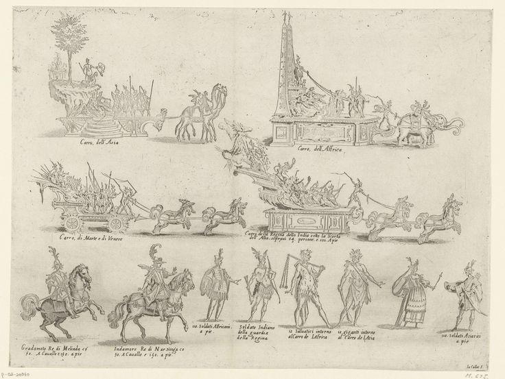 Jacques Callot | Carnaval te Florence: praalwagens en deelnemers aan de optocht, Jacques Callot, Giulio Parigi, Zanobi Pignoni, 1616 | Vier praalwagens (voorstellende/meevoerende Azië, Afrika, Mars & Venus, en de Koningin van India), twee ruiters en zes personages te voet, vrijwel allemaal met een toelichtende tekst in het Italiaans. Deze wagens en figuren reden en liepen mee in de optocht die plaatsvond tijdens het carnavalsfeest 'Guerra d'Amore', dat Cosimo II de' Medici in 1616 in…