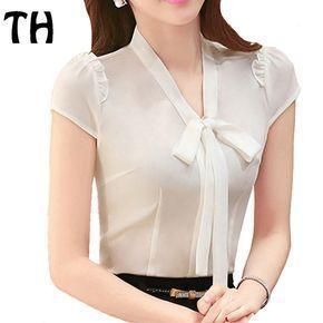 2016 del trabajo del OL camisa de la gasa para Mujer ' oficina formales mujeres blusa Slim Fit Bow Blusas con cuello en v Femme Ropa Mujer #160526