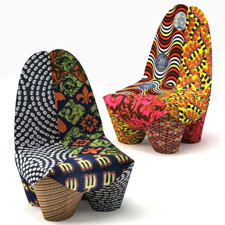 The Binta armchairs by the Swiss designer Philippe Bestenheider in their striking African color scheme. Part of the Moroso Collection, the colorful seats saw daylight at the Salone Internazionale del Mobile in Milan where they got the eye for their unparalleled patchwork fabrics and their colors