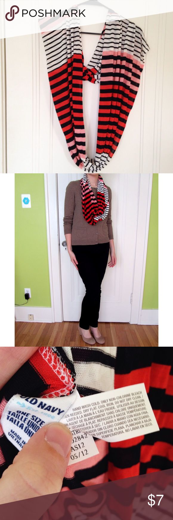 Old Navy Lightweight Striped Infinity Scarf Lightweight infinity scarf from old navy in a stylish combo of red, pink, black and white stripes. 100% rayon, gently used, like new. Old Navy Accessories Scarves & Wraps