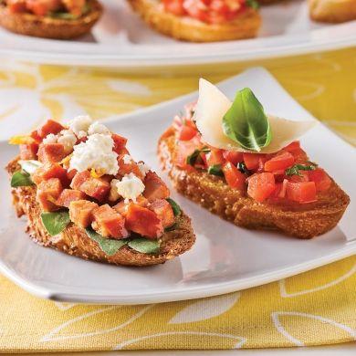 Duo de bruschettas - Recettes - Cuisine et nutrition - Pratico Pratique