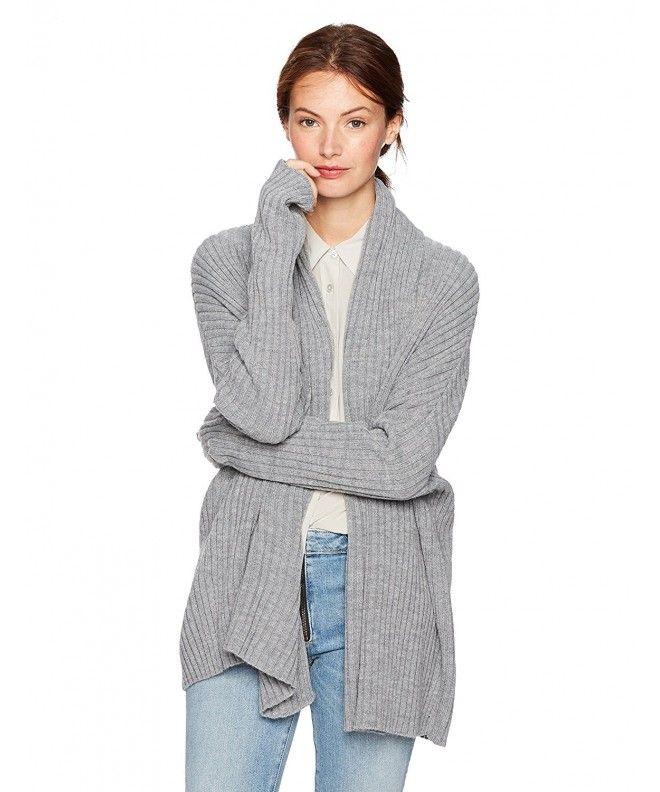 895cc9a4793 Women s Long-Sleeve Rib-Knit Cardigan With Thumbhole - Heather Grey -  C0185O6MYKY