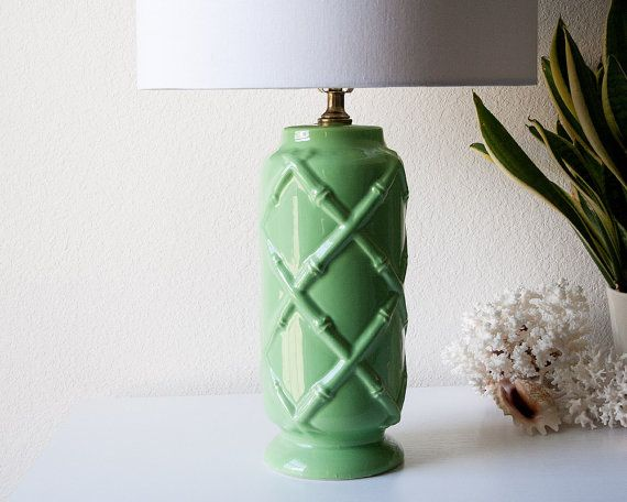 Vintage Green Ceramic Bamboo Style Table Lamp Mid By