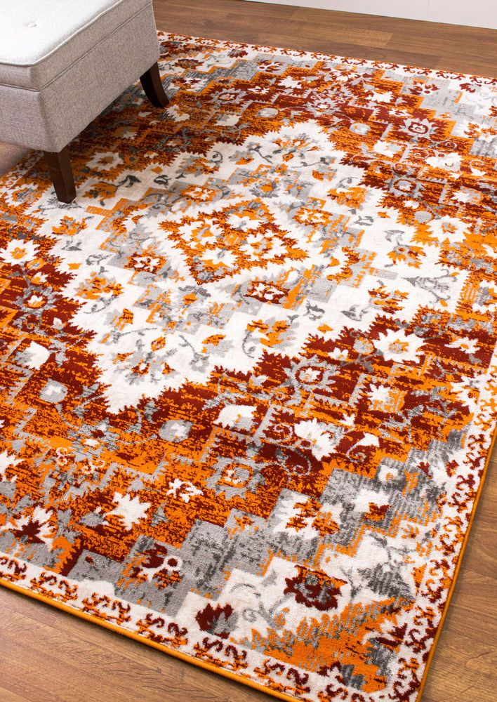 Southwestern Rug Diamond Rug Modern Rug Gray Orange Rug Living