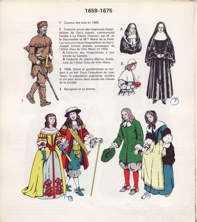 Costumes de la Nouvelle-France, 1659-1675. Image extraite du livre de Rodolphe Vincent, Notre costume civil et religieux, Montréal, c.1965.