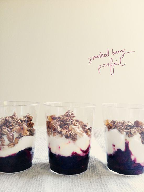 Smashed berry yogurt parfait recipe!