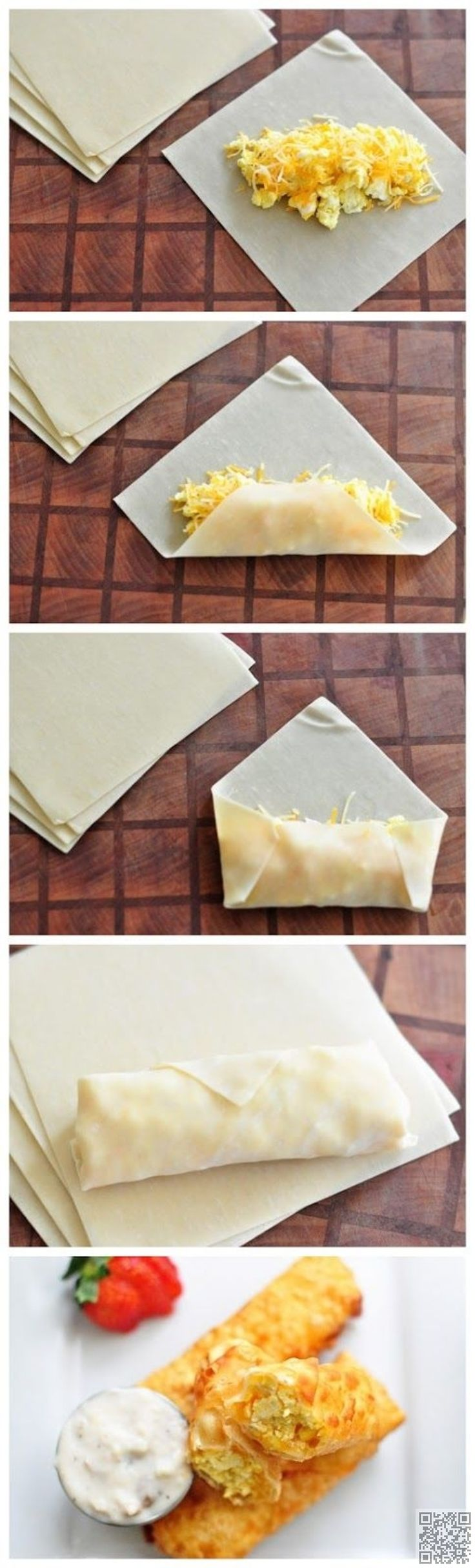 11. les œufs #brouillés et roulés de #fromage avec sauce #saucisse - 21 choses…