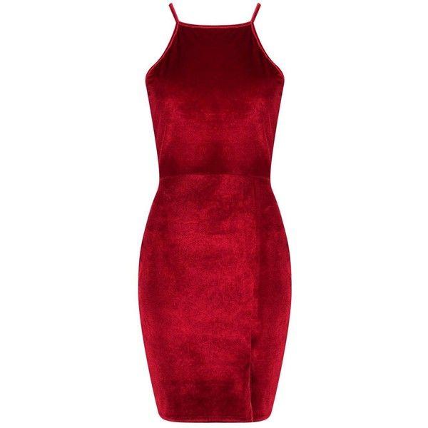 Boohoo Harmony Velvet Strappy Bodycon Dress | Boohoo ($12) ❤ liked on Polyvore featuring dresses, boohoo dresses, body conscious dress, red dress, bodycon dress and strap dress