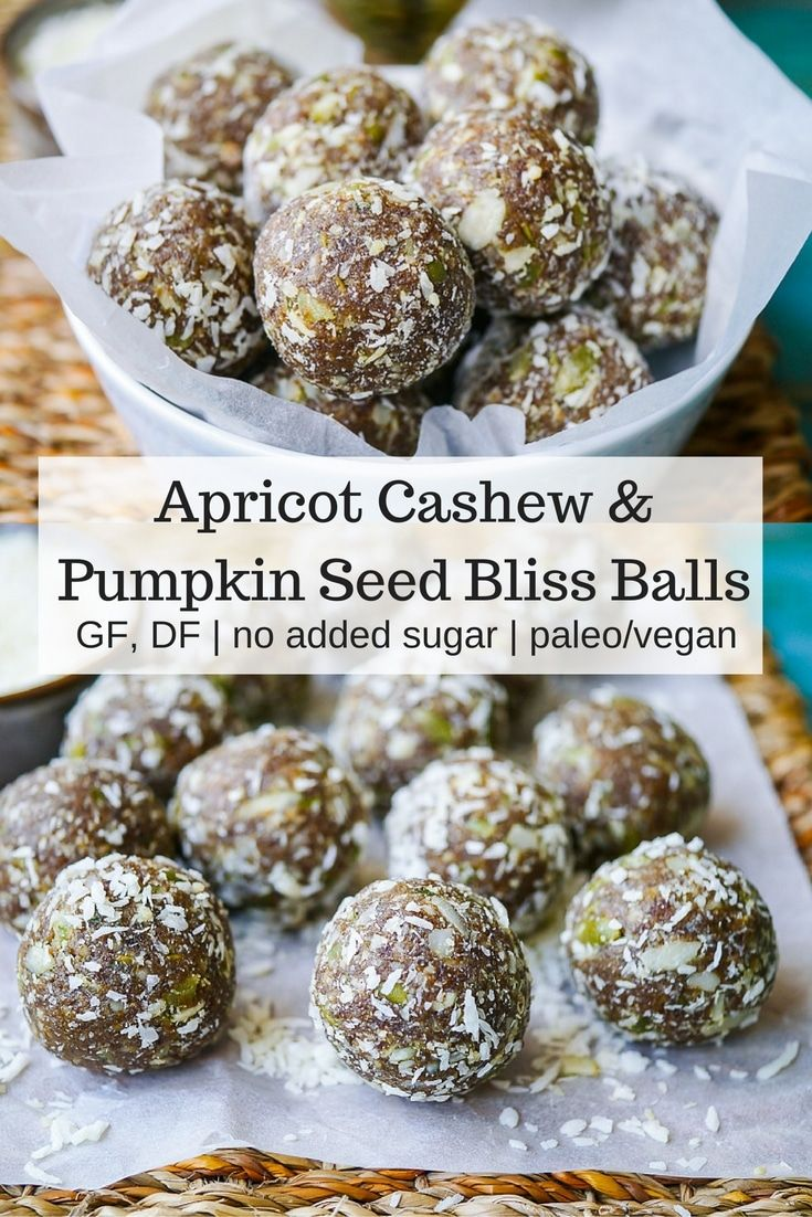 Apricot Cashew and Pumpkin Seed Bliss Balls by Nourish Every Day | Tasty, chewy and nutritious bliss balls made with natural dried apricots, cashews and crunchy pumpkin seeds. Gluten free, dairy free, no added sugar - the perfect #healthysnack!