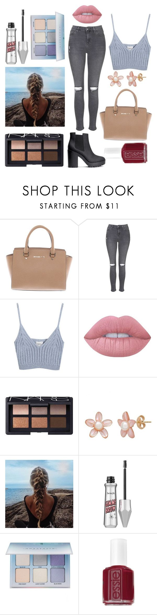 """1 Page Challenge (read description for more)"" by googymartin ❤ liked on Polyvore featuring Michael Kors, Topshop, Chicnova Fashion, Lime Crime, NARS Cosmetics, Benefit, Anastasia Beverly Hills, Essie and H&M"