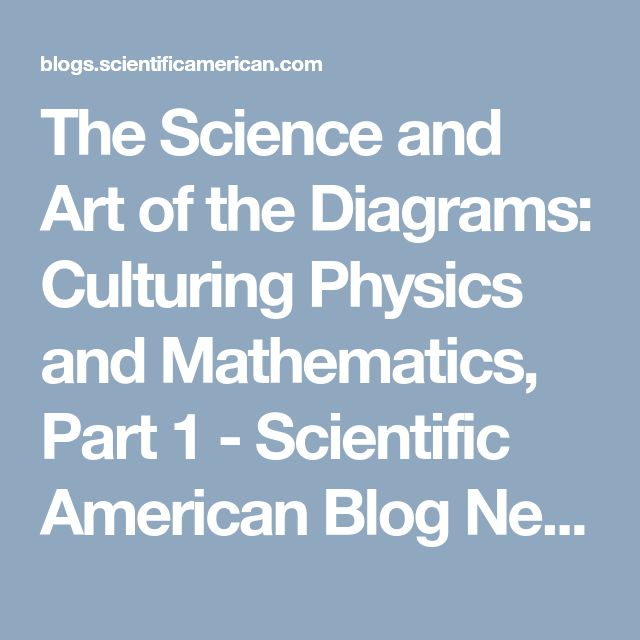 The Science and Art of the Diagrams: Culturing Physics and Mathematics, Part 1 - Scientific American Blog Network