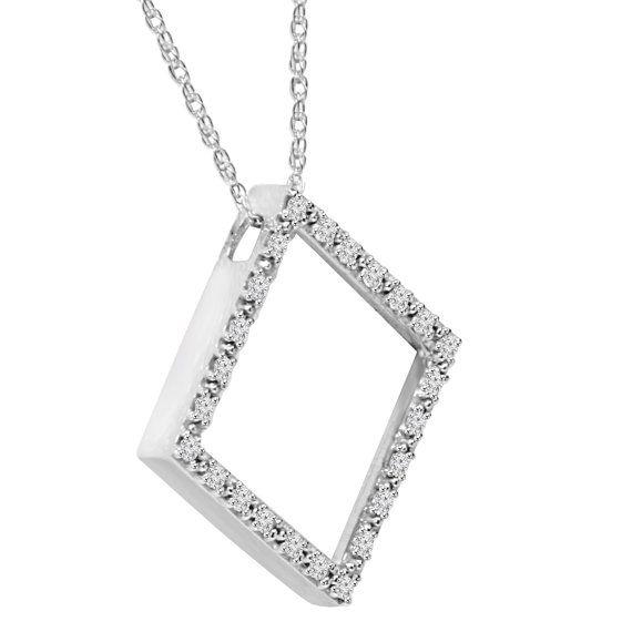 Colgante de diamantes 1/4CT de diamante 7/8 altura 24