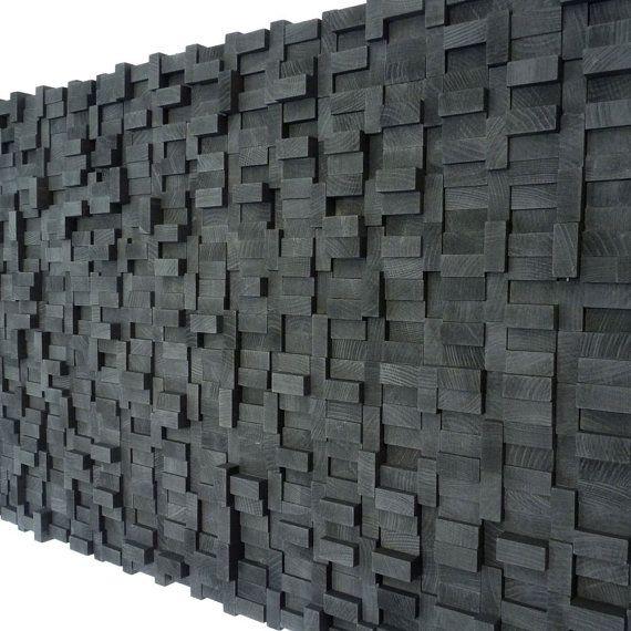 Sculpture murale blocs de bois noir minuit par TateLowe sur Etsy