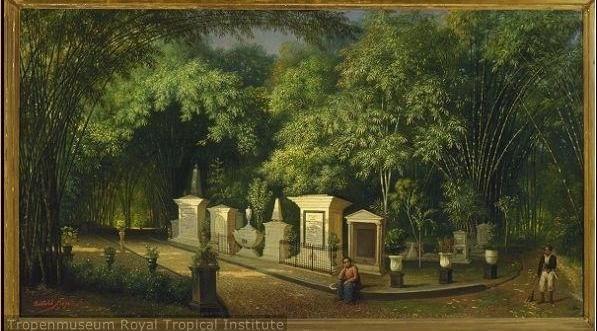 Kerkhof in de Plantentuin (Kebun Raya) van Buitenzorg (Bogor)