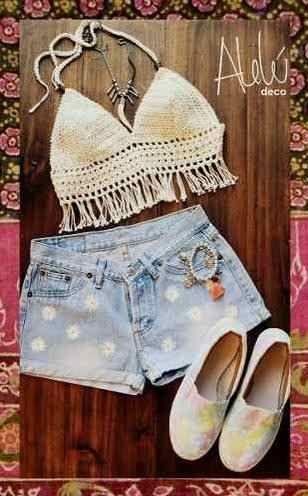 Crop Top Al Crochet Bikini Flecos - $ 350,00