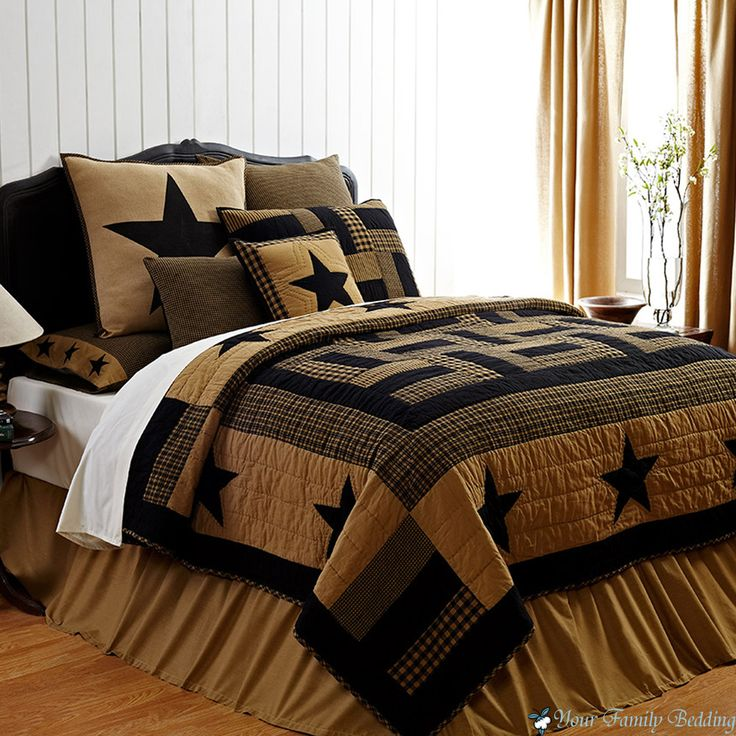 Rustic Country Black Western Star Twin Queen Cal King Cotton Quilt Bedding Set | eBay