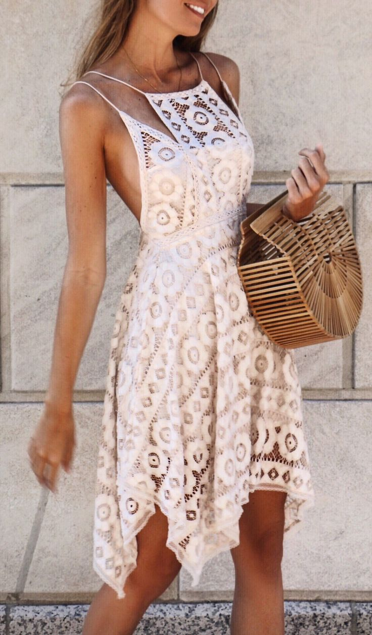 #summer #outfits White Lace Dress + Wood Clutch