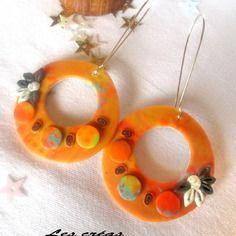 New collection :  boucles d'oreilles créoles fluos et fleuries