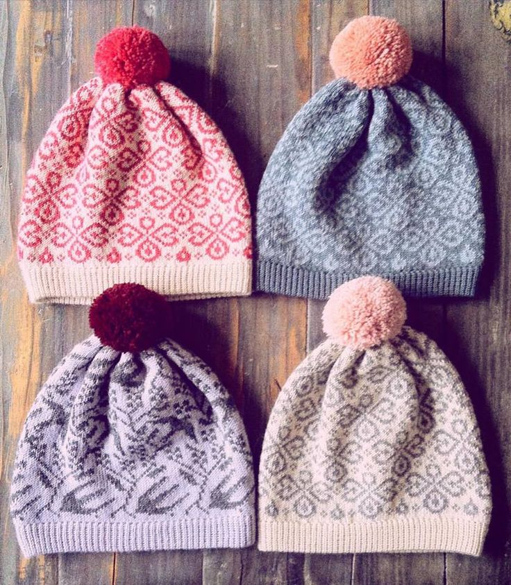 Colorful knitted beanies in lovely colors with fuzzy pompoms/ www.kutovakika.com