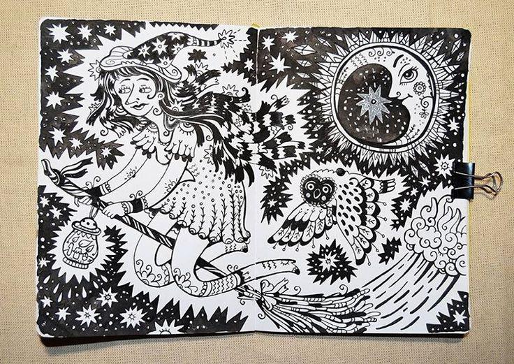 illustrator Samarskaya Milana  #witch #ink #magic #illustration #sketchbook #owl #moon #иллюстрация #ведьма #скетчбук