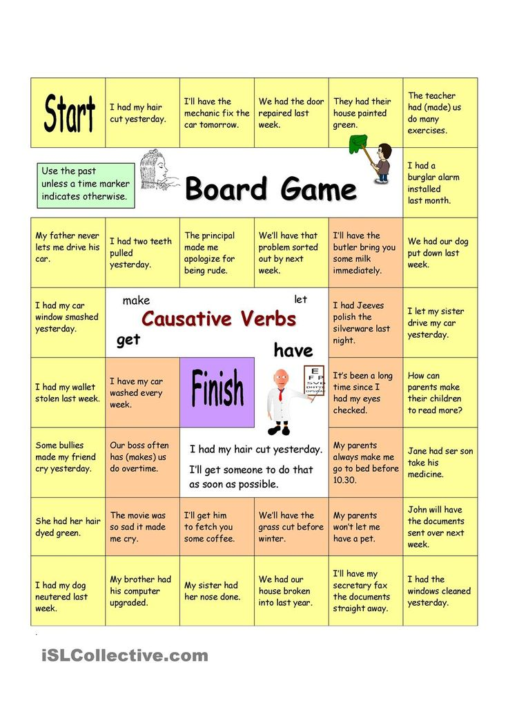 Board Game - Have Something Done (Causative verbs ...